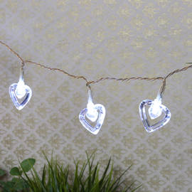 My Valentine Cool White Acrylic Heart Battery String Lights