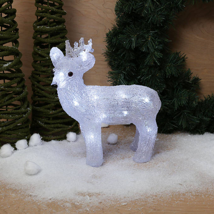 Cool White Acrylic Battery Reindeer, 24 LEDs