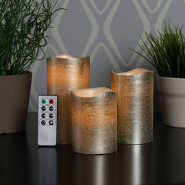 Champagne Metallic Wax Flameless Candle with Timer and Remote, Set of 3
