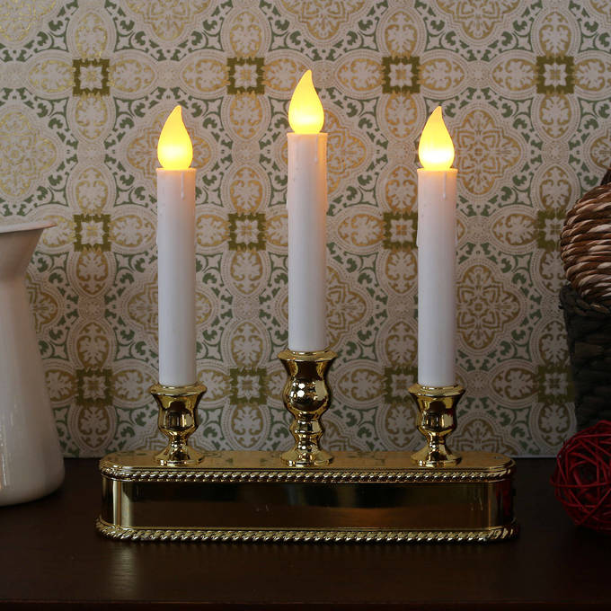 Gold Triple LED Battery Powered Window Candelabra with Auto Sensor