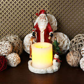 "Forest Friends Santa Candle Holder with 3"" Candle and Auto Timer"