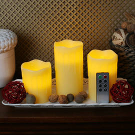 Beeswax Drip Flameless Candles with Remote, Set of 3