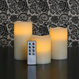 Ivory Wax Melted Edge Flameless Candles with Remote, Set of 3