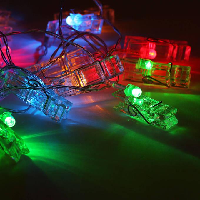 lightscom string lights decorative string lights multicolor clothespin battery string lights strand of 20 - Decorative String Lights