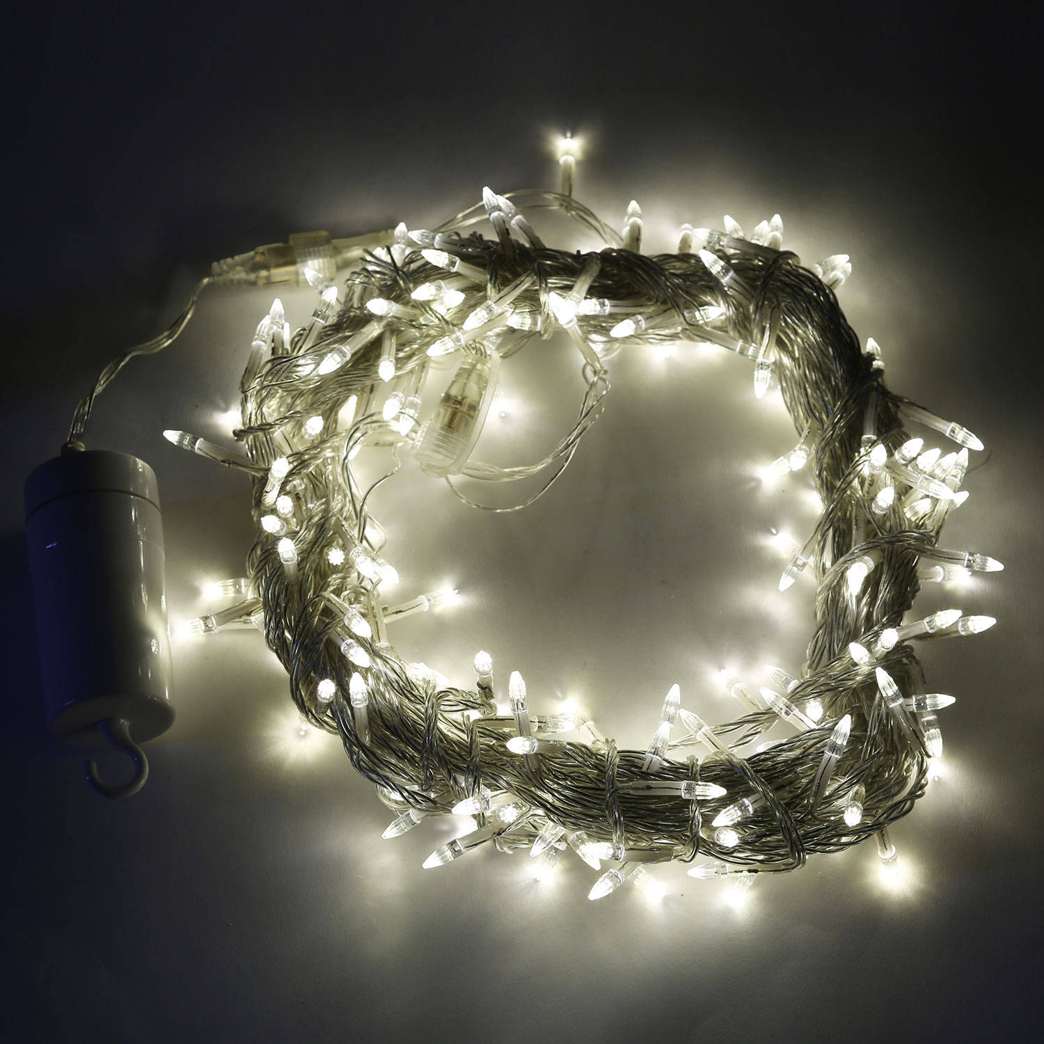 Lights.com String Lights Christmas Lights Soft White 200 LED Clear Strand Battery String ...