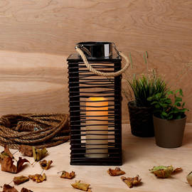 Seaside Rope Lantern with Flameless Candle