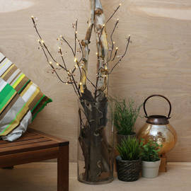 """Brown 39"""" Lighted Acrylic Leaf Branch with Timer"""
