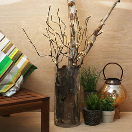 """Brown Wrapped 20"""" Lighted Branch with Timer"""