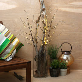 "Clear Bead 39"" Lighted Branch with Timer"