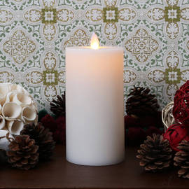 "Moving Flame Flat Top Flameless 7"" Pillar Candle"