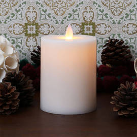 "Moving Flame Flat Top Flameless 5"" Pillar Candle"