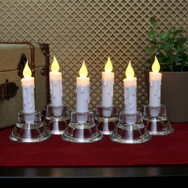"""Resin 4.75"""" Taper Candles with Timer, Set of 6"""