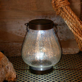 Silver Speckled Glass Solar Lantern