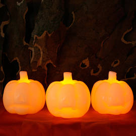 Mini Carved Pumpkin Flameless Candle, Set of 3