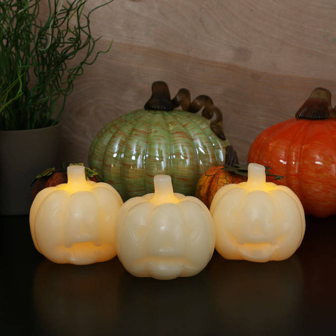 Mini Ivory Carved Wax Flameless Pumpkin Candle, Set of 3