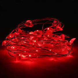 Red Mini 40 LED Heart Shaped Battery String Lights