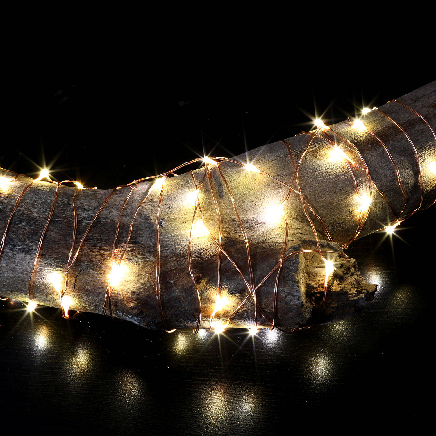Lights.com String Lights Copper Wire Lights Cool White Starry Silver Wire 50 LED Battery ...