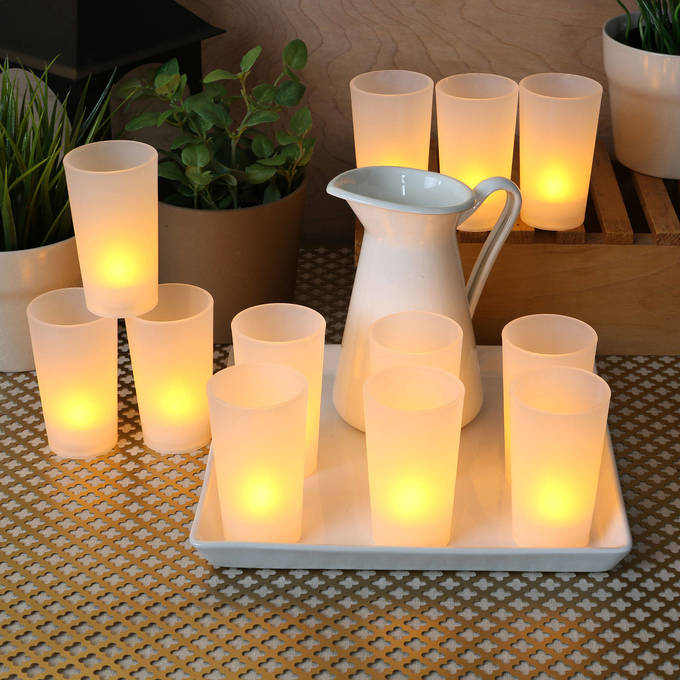 Flameless Warm White LED Frosted Votive Candles, Set of 12