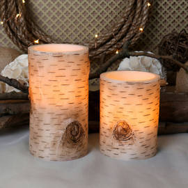 Bark Flameless Wax Candles, Set of 2