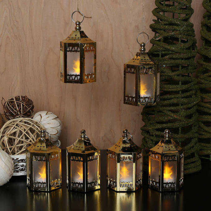 Gold Mini Holographic Stars Lanterns, Set of 6
