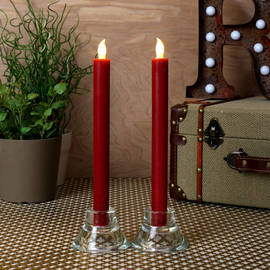 "Burgundy 10"" Push-Activated Wax Taper Candles, Set of 2"