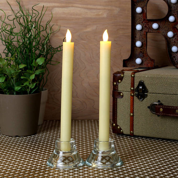 "Cream 10"" Push-Activated Wax Taper Candles, Set of 2"