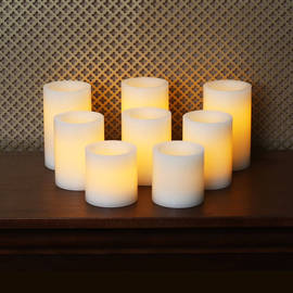 Cream Faux Wick Flameless Pillar Candles, Set of 8