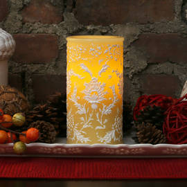 Floral Flameless Autumn Wedding Candle with Timer
