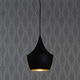Single Bulb Matte Black Bungalow Pendant