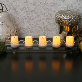 Faux Wick Flameless Votive Set with Fillable Glass Log Holder