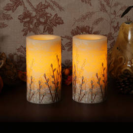 "Marbleized Willow 6"" Flameless Wax Pillars with Timer, Set of 2"