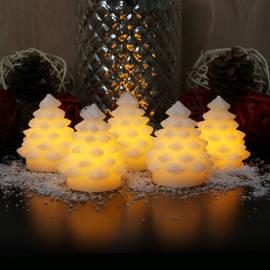 Cream Mini Christmas Tree Votives, Set of 5