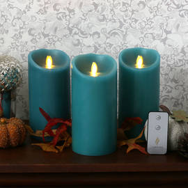 "Blue Sage 7"" Flameless Moving Wick Candles with Remote, Set of 3"