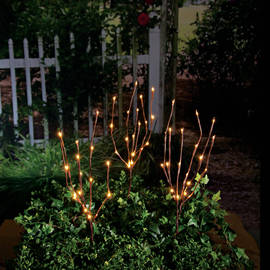 "Outdoor Brown Wrapped 27"" Plug-in Lighted Branch with Timer, Set of 3"