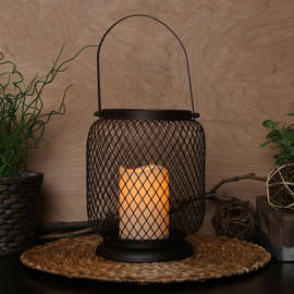 Caged Mesh Lantern with Flameless Candle and Timer