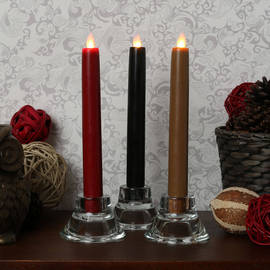 "Flameless  8"" Wax Taper Candle with Moving Flame"