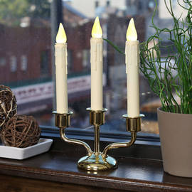 Flameless Ivory Drip Battery Candle Trio with Brass Window Base