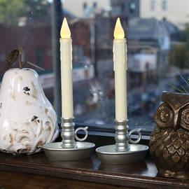 Ivory Drip Battery Window Candle with Pewter Holder, Set of 2