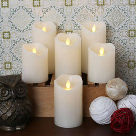 Dancing Flame Ivory Wax Pillar Candles