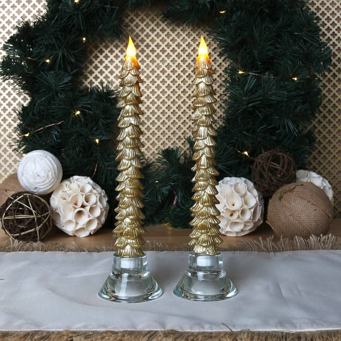 String Of Candle Lights For Christmas Tree : Lights.com Flameless Candles Taper Candles Flameless Wax 11