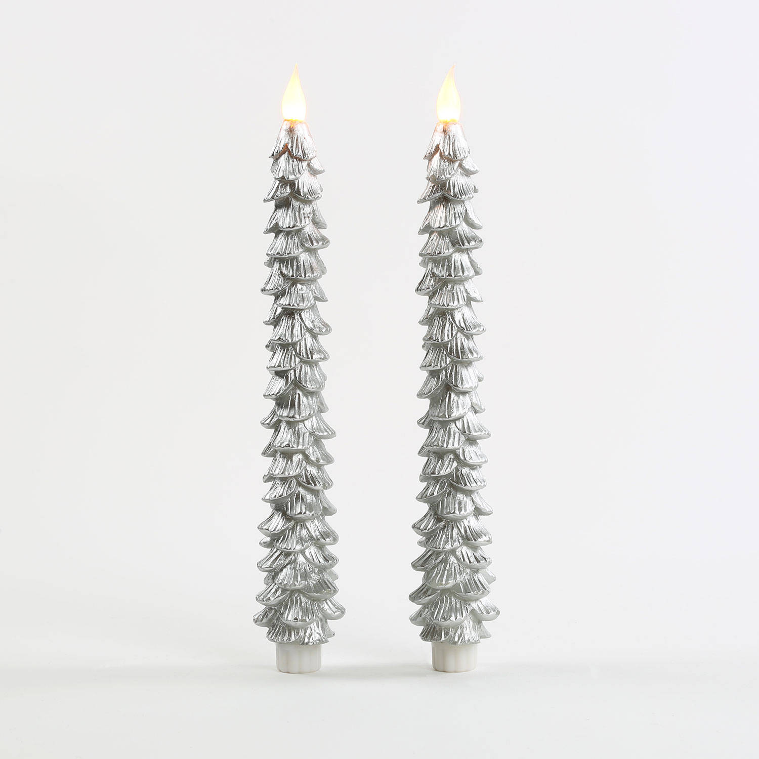 String Of Candle Lights For Christmas Tree : Lights.com Flameless Candles Taper Candles Silver 11