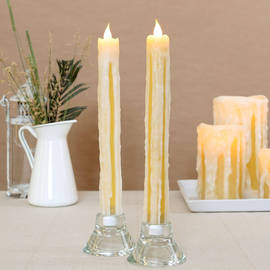 "Heavy Drip 11"" Flameless Wax Taper Candles with Timer, Set of 2"