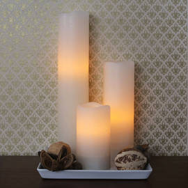 Tall Distressed Melted Edge Ivory Wax Pillar Set with Timer and Remote