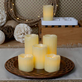 Rechargeable Flameless Wax Votives with Charging Base, Set of 6