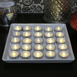 Rustic Party Tea Lights with Aluminum Holders, Set of 25