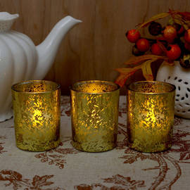 Metallic Mercury Glass Poured Wax Votives, Set of 3