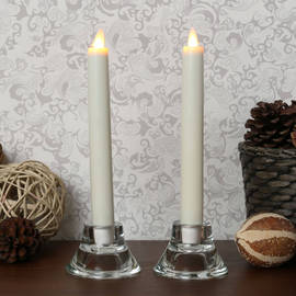 "Moving Flame 8"" Ivory Taper Candle with Timer, Set of 2"