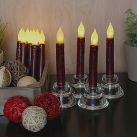 Burgundy Smooth Wax Drip Taper Candles, Set of 12