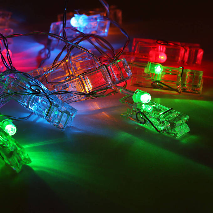 Multicolor Clothespin Battery String Lights, Strand of 20