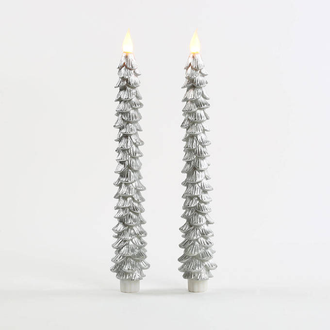 "Silver 11"" Flameless Wax Christmas Tree Tapers, Set of 2"